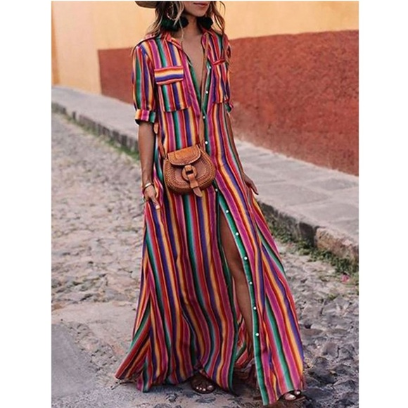 048cd5abfaa8 Skittles Rainbow Boho Stripes Maxi Tunic Dress